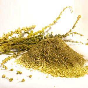 photo d'un tas de poudre jaune de réséda lutéola avec en arrière plant quelques brins de fleurs séchées