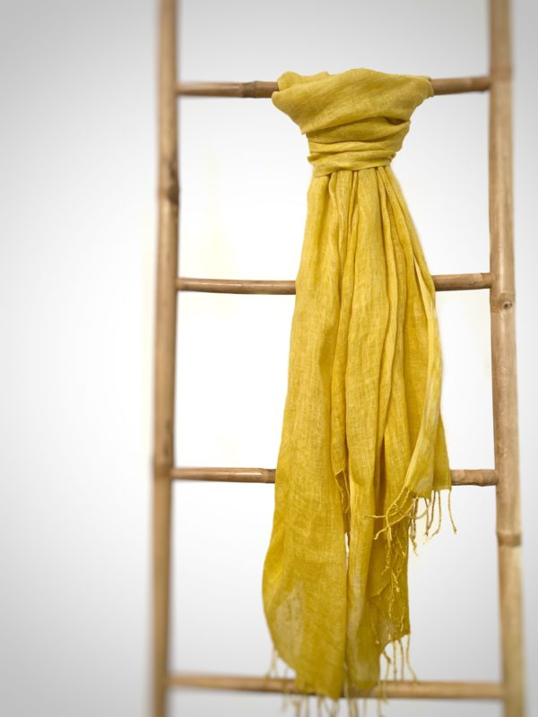 photo d'une écharpe en lin tissé à la main teint avec de la gaude du champ des couleurs , noué sur une échelle