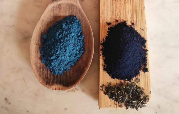 presentation de deux pigments bleus sur une planchette en bois